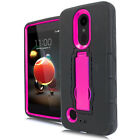 For LG Fortune 2 Impact Hard Rubber Kickstand Case Cover + Screen Guard