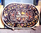 Black Marble Oval Table Marquetry Inlaid Fine Bird Art Living Room Decor H3801