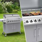 BillyOh Origin 6+1 Hooded Gas BBQ Barbecue Grill with Side Burner Storage Silver <br/> *1580(W)x535(D)x1052(H)MM*1 SIDE BURNER*UK STOCK*