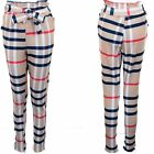 Ladies High Waist Belted Tie Paperbag Stretch Check Cigarette Pants Trousers