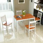 5 PCS Wood Dining Table and 4 Chairs Set Dining Room Breakfast Kitchen Furniture
