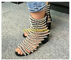 Women Pearls Gladiator Roman Zip High top Block Hollow out Leather Sandals Shoes