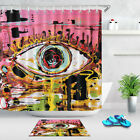 Home Decor Huge Eye Graffiti Waterproof Fabric Shower Curtain Bathroom Hooks Mat