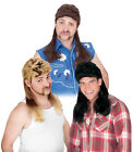 Funny American Redneck Super Mullet Wig Adult Halloween Costume Accessory Colors