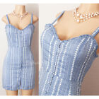 NEW Forever21 Blue Geo Striped Sweetheart Ruffle Button Down Cotton Fitted Dress