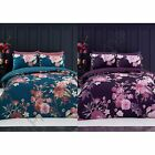 FLORA DUVET COVER SET REVERSIBLE BEDDING TEAL PURPLE - DOUBLE & KING SIZE