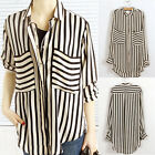 AU STOCK Double Pocket Long Sleeve Chiffon T Shirt Blouse Tops Fast Shipping