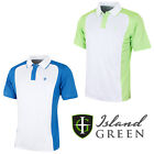 Island Green Mens Golf Polo Shirts Two Tone Short Sleeve Two Button IGTS1657