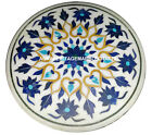 Marble Coffee Table Top Rare Lapis Mosaic Floral Marquetry Patio Decorative H928