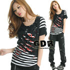 PUNK STRIPED 2LAYER CUT CROPPED TREND MAX SHIRT TOP 71208 BW L
