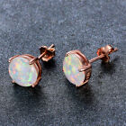 8mm Rose Gold Filled Round Cut White Fire Opal Stud Earring Wedding Jewelry Gift image