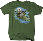 Otter Mom and Baby Otter Floating in Water River Lake Seaweed Tshirt