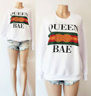 NEW Forever 21 White Queen Bae Green Red LOGO Inspired Graphic Slogan Sweatshirt