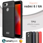 FUNDA TPU Gel para XIAOMI REDMI 6 6A efecto cuero carbon rugged case leather