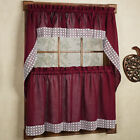 Pudding Home Collection Country Style Burgundy Curtain Parts with White Daisy Lace