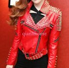 Studs Rivet Real Leather Womens Jacket Metal Motorcycle Punk Biker Rock Coat 5x $252.79 USD on eBay
