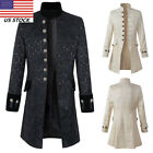 US Men Gothic Brocade Jacket Frock Overcoat Steampunk Victor