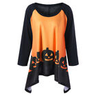Womens Long Sleeve Halloween Pumpkin Print Tunic Top Irregular T-shirt Plus Size