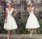 New Vintage White / Ivory Lace Tea Length Short Wedding Dress Bridal Gown
