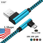 US 1~3m Micro USB Data Sync Fast Charging Charger 90 Degree