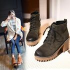 Ladies Fashion Lace Up Round Toe Block Heel  Ankle Boots Warm Winter Shoes New