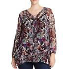 Lucky Brand Womens Floral Print Crepe Peasant Top Shirt Plus