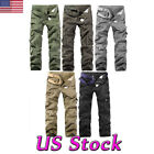 US Men's Cotton Military Cargo Pants Work Army Camo Tactical Trousers Combat New