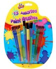 Children Kids 15 Set Assorted Flat Paint Brushes Arts Crafts Artist School Home