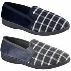 Men's Soft Comfortable Slip On Hard Sole Elasticated Checked Loafer Slippers