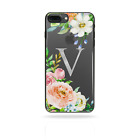 PERSONALISED INITIALS FLOWER IPHONE X XS MAX XR CASE HARD CLEAR COVER FOR APPLE