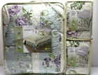 3 / 1 pc - JOANIE Quilted BEDSPREAD & SHAMS  Scalloped Ivory Green Purple Floral