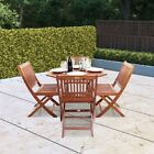 Billyoh Windsor 1.0m Octagonal Wooden Garden Furniture Dining Set Folding Chairs