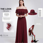 Ever-Pretty Bridesmaid Gown Long Burgundy Off Shoulder Homecoming Dress 07171