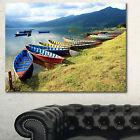 Designart 'Color Boats in Phewa Lake' Boat Wall Artwork on Canvas