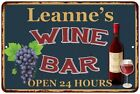 Leanne's Green Wine Bar Wall Décor Kitchen Gift Sign Metal 112180043589