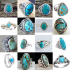Synthesis 925 Plated Ring Turquoise Gems Jewelry Men Women Wedding Party Sz 6-10