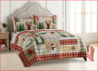 3 pc- St Nicholas OUTDOOR Patchwork Reversible QUILT + SHAMS - Deer Birds Trees