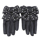 New High Quality Black Soft PU Leather Beautiful Bow Gloves For Women Nice OE