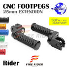 CNC 25mm Extension Front Footpegs POLE For Yamaha SRX 600 86-90 86 87 88 89 90