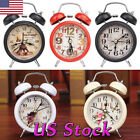 Fashion Retro Mini Quartz Alarm Clock Twin Bell Round Number Desk Bed LED Clock