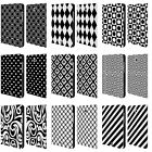 HEAD CASE BLACK AND WHITE PATTERNS LEATHER BOOK CASE FOR SAMSUNG GALAXY TABLETS