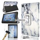 Leather Stand Cover Case + Tempered Glass Screen Protector For Amazon Fire HD 8""