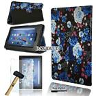 """Leather Stand Cover Case + Tempered Glass Screen Protector For Amazon Fire HD 8"""""""