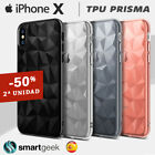 FUNDA TPU Gel para iPHONE X slim efecto prism diamante dibujo color case 3d