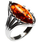 3.5g Authentic Baltic Amber 925 Sterling Silver Ring Jewelry N-A7107