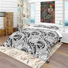 Designart - Monochrome Abstract Floral Pattern - Bohemian & Eclectic Duvet Cover image