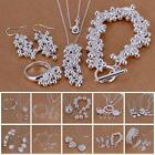 Multi Type Women Silver-Plated Bracelet Earings Jewelry Set Chain