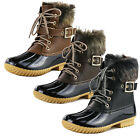 Women's Stitching Lace Up Side Zip Waterproof Duck Boots Fur Trim Snow Boots