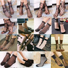 Women Fishnet Mesh Lace Ruffle Socks Sheer Silky Glitter Short Ankle Stockings