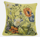 Flowers Yellow Belgian Floral Bouquet Woven Tapestry Cushion Pillow Cover NEW